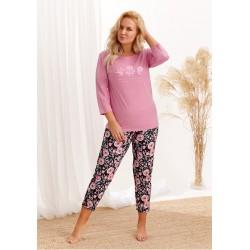 Piżama 2242 Nina AW/20 - Kolor 02 - Różowy pudrowy-czarny